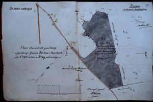 Mapa ekwiwalentu leśnego przekazanego gminie Dzików za zniesione prawo do poboru drewna opałowego i budowlanego w drugiej połowie XIX wieku